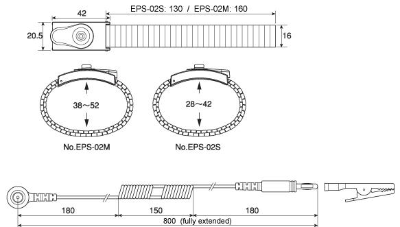 EPS-02 Anti-Static Wrist Strap Dimensions