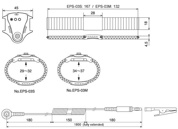 EPS-03 Anti-Static Wrist Strap Dimensions